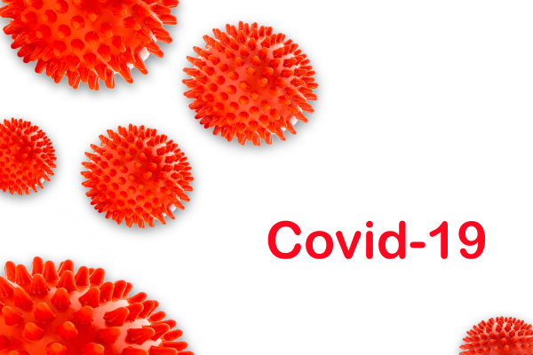 covid 19 text on white background