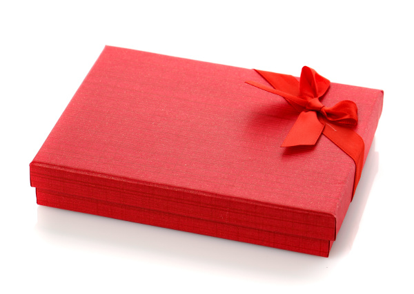 elegant red gift box with a