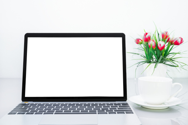 laptop mockup and coffee cup with