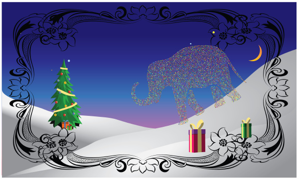 elephant is celebrate christmas in this