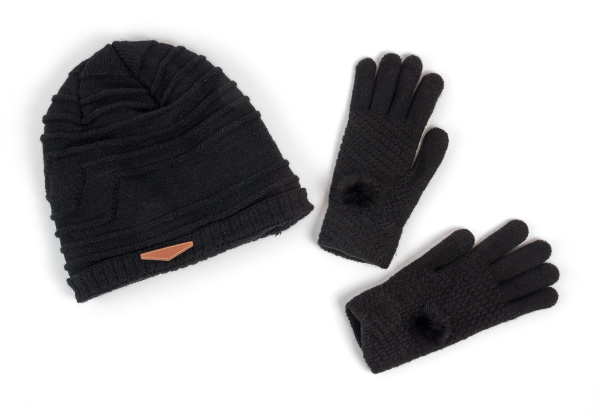 winter hat and the gloves on