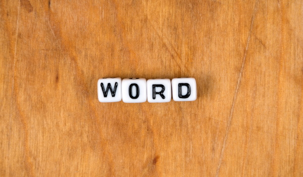 cube words on the wooden table