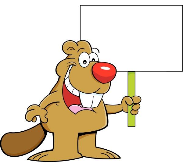 cartoon illustration of a beaver holding