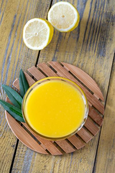 glass bowl of lemon curd