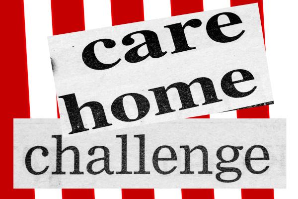 distressed newspaper headline reading care home