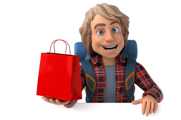 fun backpacker cartoon guy