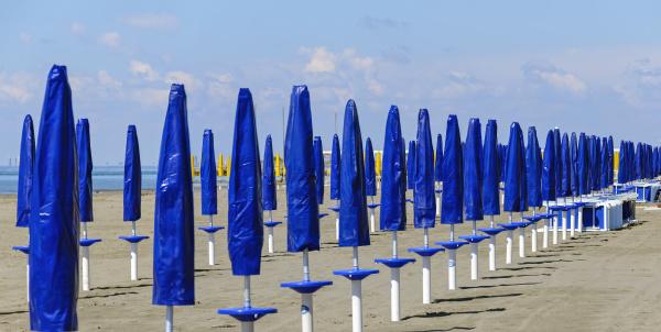 empty beach with row of sun
