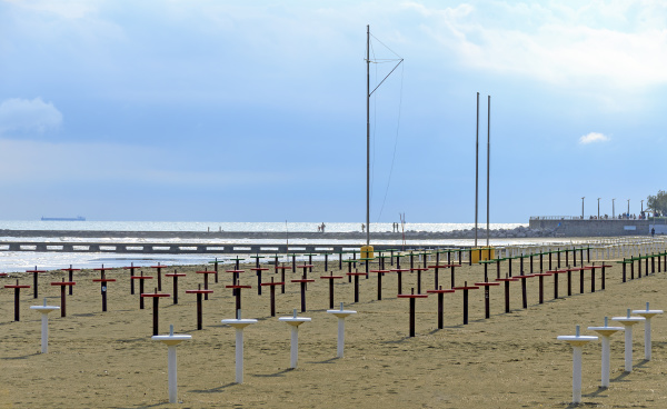 beach with rows of umbrella stands