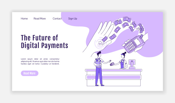 digital payments landing page flat silhouette