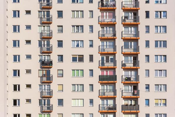 closeup of block of flats facade