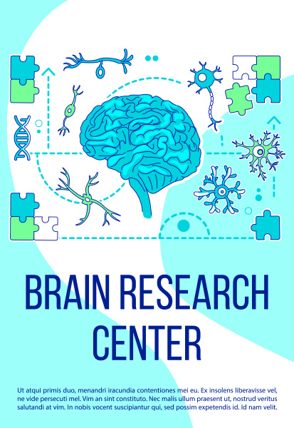 brain research center poster flat silhouette