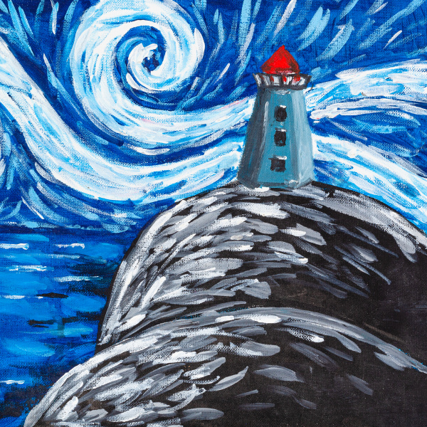 night landscape with lighthouse on cliff