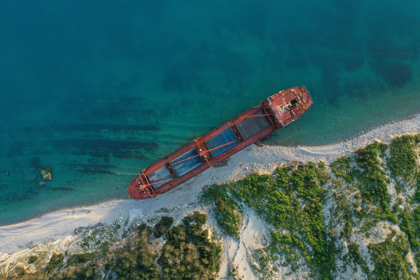 shipwreck dry cargo ship left