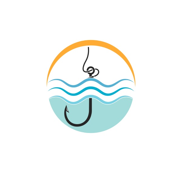 hook logo icon of fishing