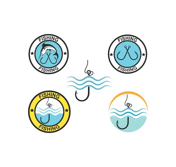 fishing logo icon badge vector illustration