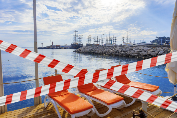 protective tape and sun loungers