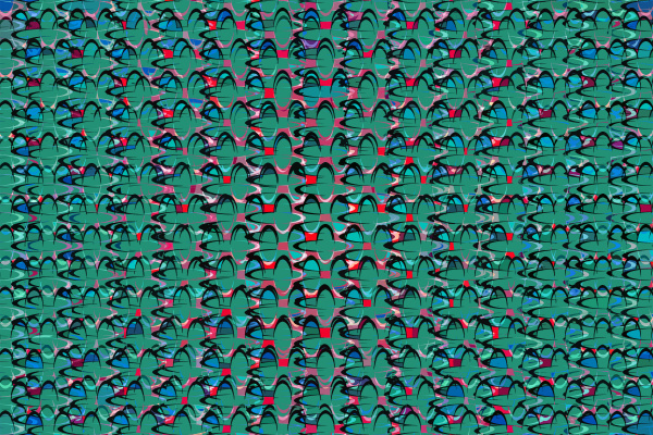 retro green and red ellipse pattern