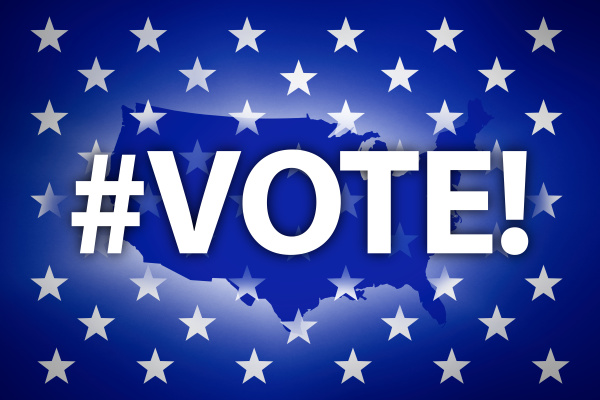 vote sign and stars against usa