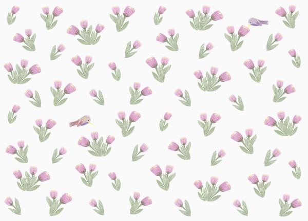 hummingbirds and purple flower pattern on