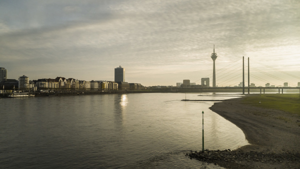 tranquil rhine river and rhine tower