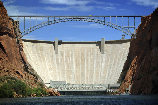 usa metal bridge and large dam