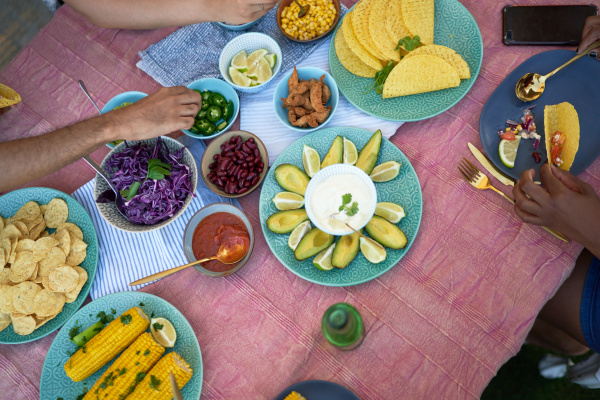 taco shells and ingredients on patio