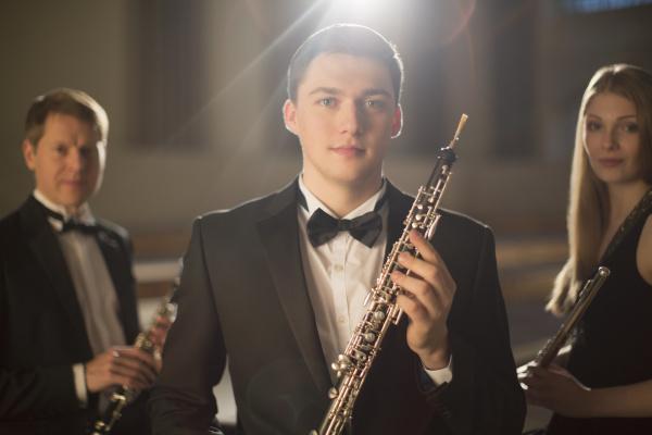 portrait of confident classical musicians