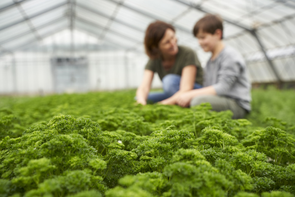mother and son crouching in greenhouse