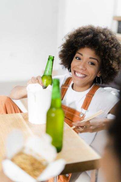 portrait of happy young woman enjoying