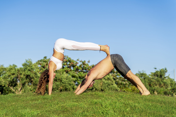 mature couple doing yoga on lawn