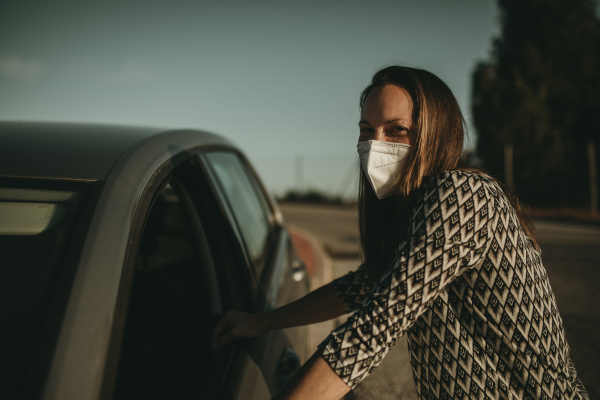 mid adult woman with protective mask