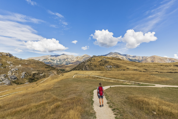 new zealand female hiker standing