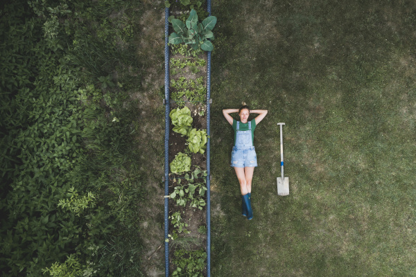 aerial view of woman lying by
