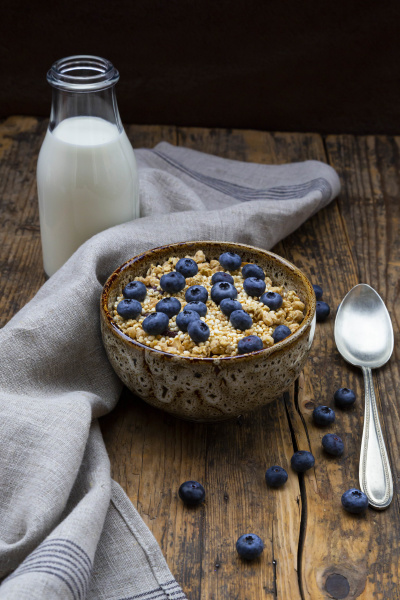 milk bottle and bowl of granola