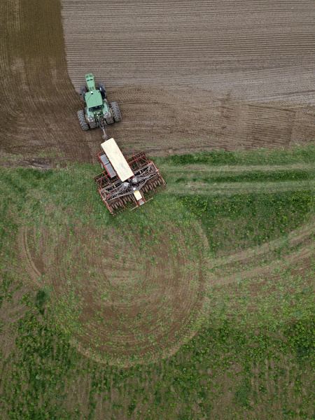 russia aerial view of tractor