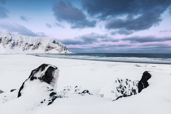 coastal landscape in winter berlevag