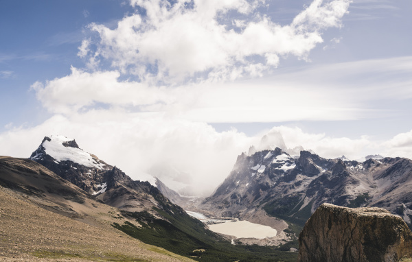 scenic view of snowcapped mountains against