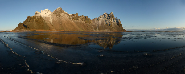 vestrahorn mountain with reflection iceland