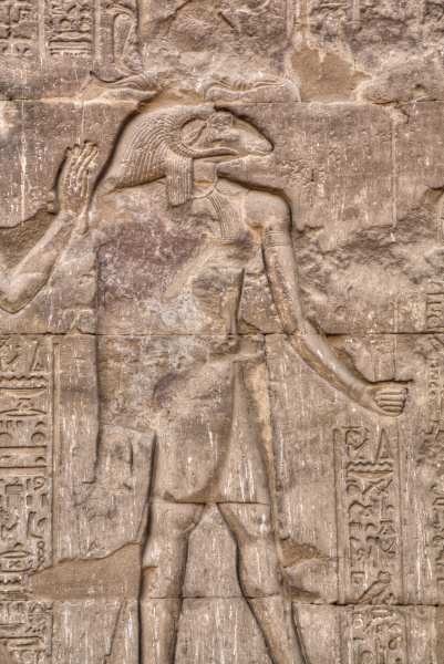 the god khnum bas relief hypostyle