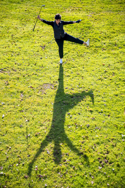 high angle view of female golfer