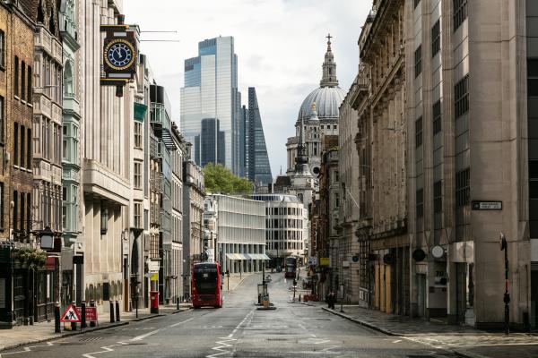 view along empty fleet street with