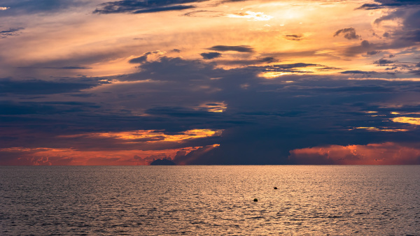 dramatic sky at sunset on the
