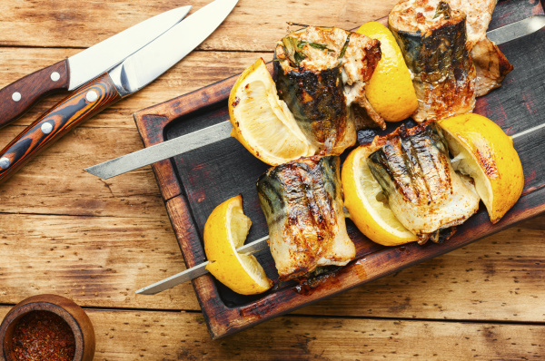 grilled fish on skewers