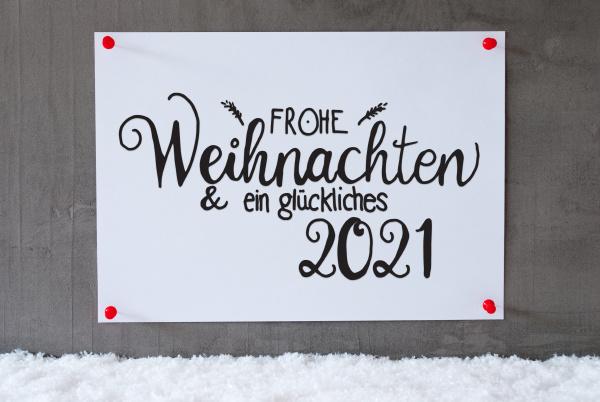white paper sign snow glueckliches 2021
