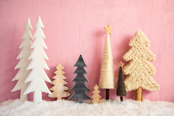 christmas trees snow retro pink grungy