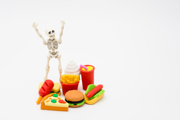skeleton and foods enjoy eating