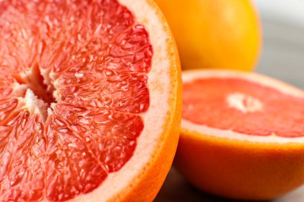 detail of red grapefruit cut in