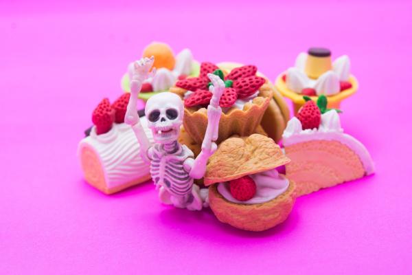 skeleton and bakery enjoy eating