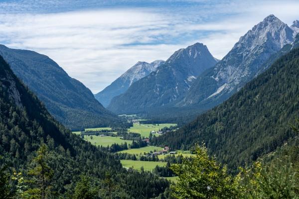 view on wetterstein mountains and leutasch