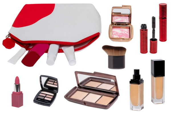 collage of make up cosmetics and